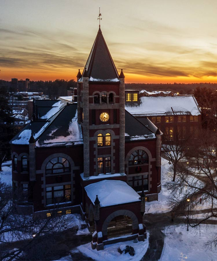 Thompson Hall at dusk