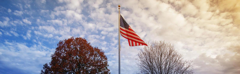 U.S. flag in sky