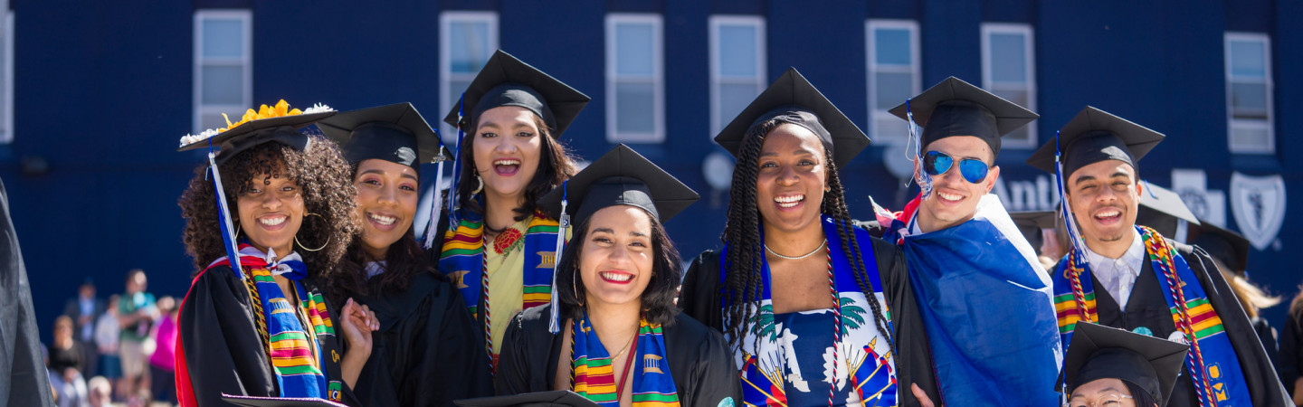 students in graduation gowns