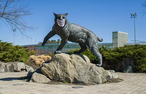 UNH Wildcat statue wearing a mask