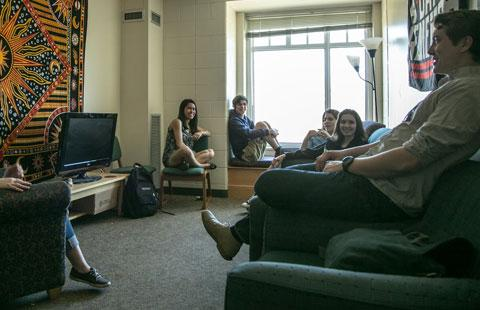 unh students in a residence hall